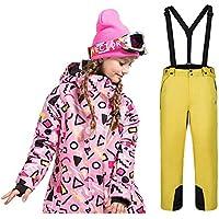 LPATTERN Traje de Esquí para Niños/Niñas 2 Pieza Chaqueta Acolchada con Capucha+ Pantalones con Tirante de Nieve, Niña-Rosa Azulejo+Amarillo, 160/12-14 años