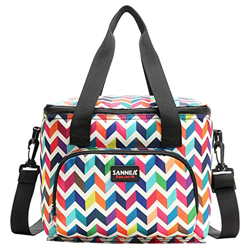 Bolsa de almuerzo de doble capa aislada con correa para el hombro, bolsa de enfriador a prueba de fugas, fiambrera de 10 litros para viajes/oficina/picnic(Ola)