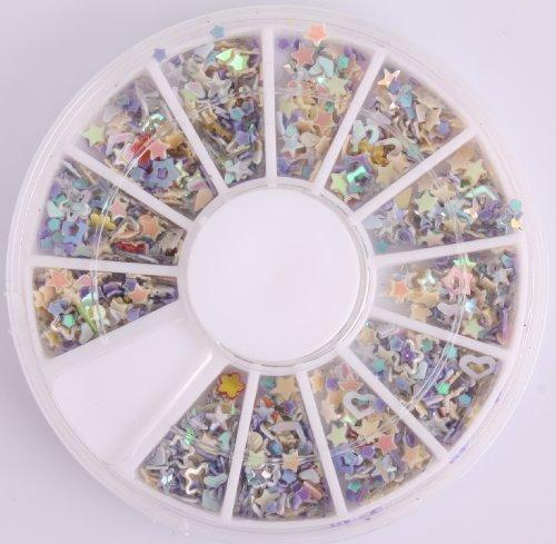 Nails Gaga 2 Wheel 3d Nail Art Tips/ Glitters 3D start Nail decorations by Nails gaga