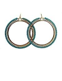 # 1006 Mujer Fashion joyas boho Weave verde azul redondas Chic Drop Pendientes