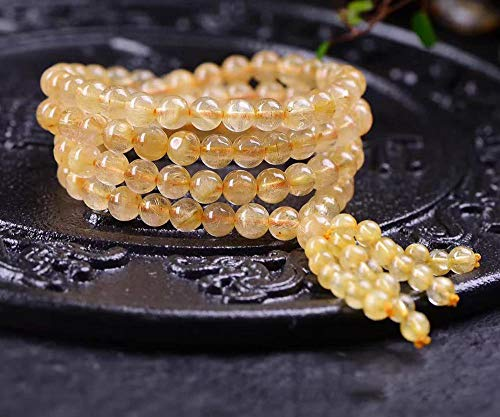 MGZDH 6mm natürliche Titan Kristall Multi-Kreis Armband für Männer und Frauen 108 Perlen Schmuck Hand-String