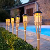6er Set LED Solar Bambus Gartenfackeln 82cm Lights4fun