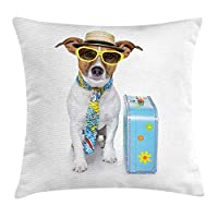 BHWYK Dog Throw Pillow Cushion Cover, Traveler Funny Dog Dressed as a Tourist with Hat Glasses Necktie and a Floral Suitcase, Decorative Square Accent Pillow Case, 18 X 18 inches, Multicolor