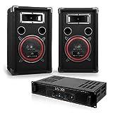 Malone Soundbash Party Musikanlage Set aus PA Lautsprecher Boxen mit Verstärker (300W PA Lautsprecher Paar, PA-Endstufe, inkl. 10m Boxenkabel) schwarz