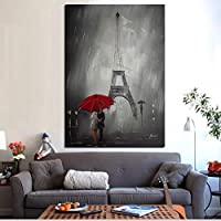 YB Red Umbrella Romantic Paris City Eiffel Tower Oil Painting HD Print on Canvas Poster Wall Picture for Living Room Sofa Cuadros