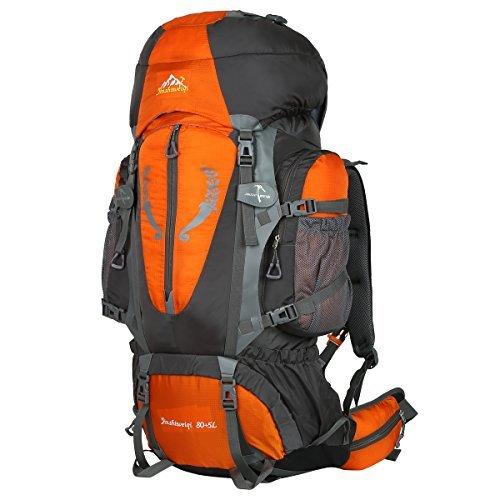 Hwjianfeng Damen Herren Trekkingrucksäcke Wanderrucksäcke für Outdoor Reise und Sport 80L+5L wasserdicht, Orange