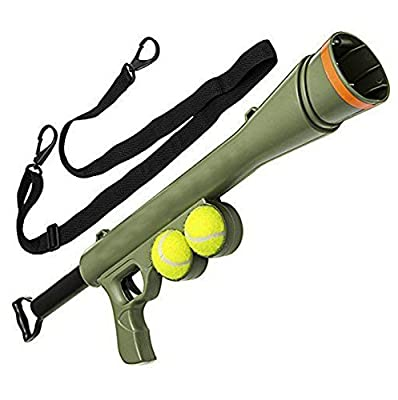 Tennis Ball Launcher Gun Rated Best Dog Toy Includes 2 Balls Sports Game Thrower