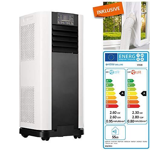 Home Deluxe - Klimaanlage SET Mokli XL - Mobiles Klimagerät mit 4in1 System: kühlen, heizen, entfeuchten, lüften - 9000 BTU/h (2.600 Watt) - Mobile Klima mit Montagematerial, Fernbedienung und Timer