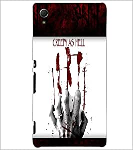 PrintDhaba Blood Hand D-4763 Back Case Cover for SONY XPERIA Z4 (Multi-Coloured)