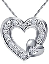 Vorra Fashion Beautiful Platinum Plated Sterling Silver White Color CZ Twins Heart Pendant With Chain Stamp With...