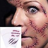 Chengzhi Tatuajes Temporales (10 Hojas) - Halloween Zombie Cicatrices Tatuajes Pegatinas con Falso Scab Sangre Especial Fx Co