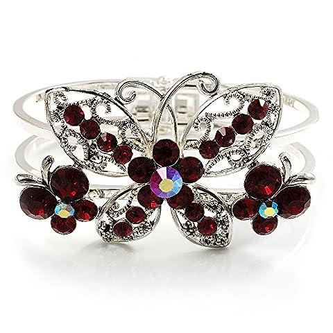 Swarovski Kristall Schmetterling Armreif Armband (Silber & Rot)