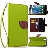 Acer Liquid Z630 Hülle, Leder Handyhülle Stoßfest Schutzhülle Brieftasche Hülle Magnet Cover Geldbörse Handyhülle Anti-kratzer PU Leather Wallet Case mit Karte Slots & Halter (Grün)