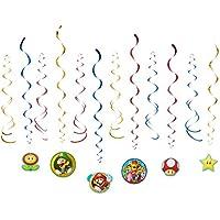 Amscan–Decoraciones de remolino de 671554Super Mario.
