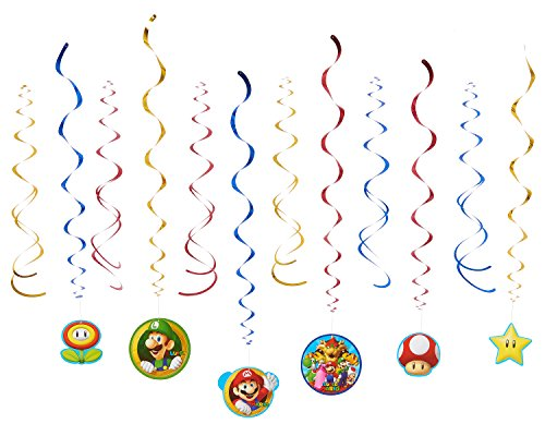 Amscan 671554 Super Mario Swirl Dekorationen (Mario Dress Up)