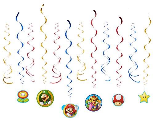 Amscan–Decoraciones de remolino de 671554Super Mario