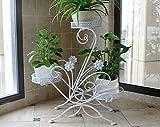 Iron flower racks Eisen Blumenständer Multi - Boden Blume Stand Balkon Pflanze gestell Innen European - Stil grünes Gras hängen Samt Topf gestell (Farbe : Weiß)