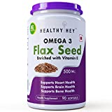 HealthyHey Nutrition Flaxseed Oil with Vitamin E Omega-3 Support Heart Softgels, 500 mg (90)