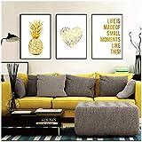 qiaoaoa 3 pièces de peinture sur toile mur nordique, jaune Home Decor ananas affiches et impressions, pour le décor de salle de séjour 50x70cmx3pcs sans cadre