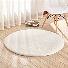 Alfombras, CAMAL Terciopelo Redonda Alfombra de Yoga Decorativo Sala Dormitorio y Baño (80cm, Leche Blanco)