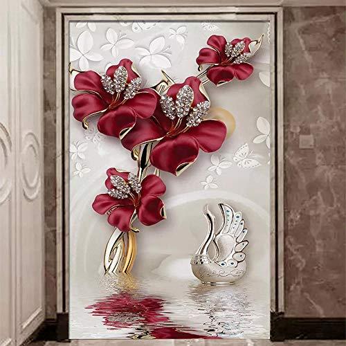 Benutzerdefinierte Jeder Größe Wandbilder Wallpaper 3D Stereo Blumen Perlen Und Juwelen Wandmalerei Wohnzimmer Eingang Hotel Hintergrund Wand 3D 250 * 175Cm