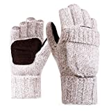 LvLoFit Natürlich Wolle Strick Handschuhe Leger Palme Fingerlos mit Fingerschutz Warme Gestrickt Winter Gloves für Damen Herren (Weiß)