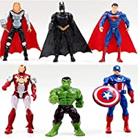 6pcs Superhero Avengers Iron Man Hulk Captain America Superman Batman Action Figures Gift Children