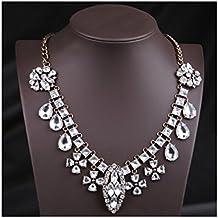 Hamer Mujer Blanco Cristal Brillantes Babero Choker Statement Charm largo colgante collar joyas Fashion