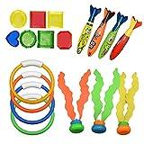 SOKY Giocattoli da Nuoto per Bambini 19PCS con Anelli da Immersione- Giocattoli da Piscina per Bambini (Set)