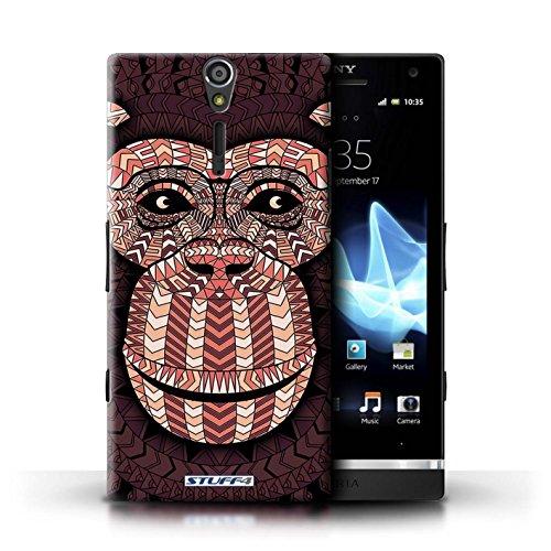 KOBALT® Hülle Case für Sony Xperia S/LT26i | Wolf-Sepia Entwurf | Aztec Tier Muster Kollektion Affe-Rot
