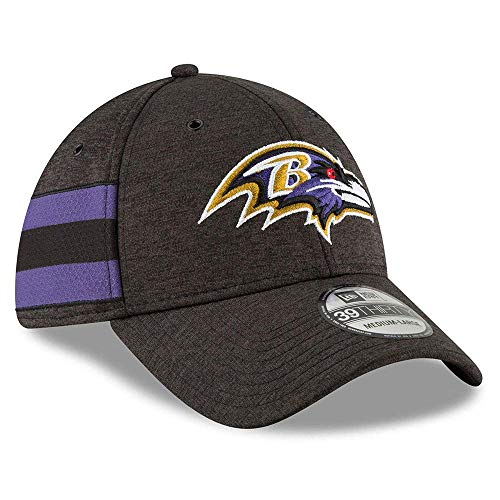 New Era NFL Baltimore Ravens Authentic 2018 Sideline 39THIRTY Stretch Fit Home Cap, Größe :S/M