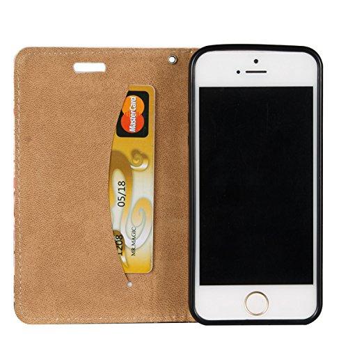 iPhone 5S Hülle Leder,Ultra-slim Exklusive Echtleder Tasche Handyhülle für iPhone SE,BtDuck 360 Grad Tasche Vertikal Klappbar aus Echtleder Wallet Flip Cover Bookstyle Case mit Magnet Luxusdesign Vint #C 03