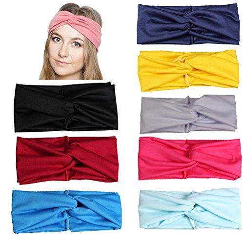 Frcolor 8pcs Femmes Bandeau, bandeau de tête Bande croisée croisée bande de cheveux pour cheveux (Jaune + Bleu + Noir + Gris clair + Rouge Vin + Rose Rouge + Bleu Lac + Bleu Clair)