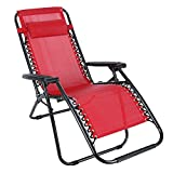 Folding Zero Gravity Garden Reclining Lounge Portable Garden Beach Camping Outdoor Sun Chair Lounger [UK STOCK] (Red)