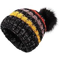 Sombreros de punto para las mujeres - YOPINDO Girls Beanie Hat lana de invierno de invierno de esquí al aire libre Snowboard Bobble hemming sombreros Gorra con lindo Big Ball Pom Pom (Negro)