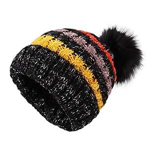 Chapeaux tricotés pour les femmes - YOPINDO Filles Bonnet Chapeau À la laine à tricoter Hiver Outdoor Ski Snowboard Bobble Hemming Chapeaux Casquette avec Cute Big Ball Pom Pom (nero)