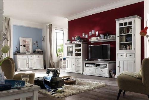 Dreams4Home Wohnwand massiv ' Juno ', in antik weiß , Wohnzimmer, Kommode,TV-Schrank,Fernsehschrank, Massivholz