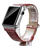 Burkley Apple Watch 1 / 2 / 3 Strap Lederarmband Uhrenarmband mit 42mm Connector Ersatzband Strap mit Dornverschluss in rot mit Croco Optik