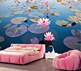 Rureng Custom Large Mural,Beautiful Lotus Pond Wallpaper,Living Room Bedroom TV Sofa Wall 3D Background wallpaper-120x100cm