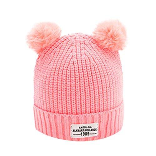 Baby Kappe YunYoud Mode Kinder Kugelkappe Einfarbig Strickmützen Niedlich Winter Hüte Warm Mützen Weich Sturmhauben Gestrickt Wolle Säumen (Rosa, Freie Größe) (Sachen Stricken Für Kinder)