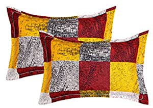 "VAS COLLECTIONS® 105 TC 100% Cotton King Size Printed Pillow Cover Combo -20""X30"" Inches,Set of 2 (Yellow)"