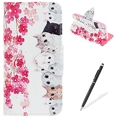 Samsung Galaxy J5(2015) Case,Samsung Galaxy J5(2015) Wallet Case,MAGQI Premium Flip PU Leather Money Pouch Case Colorful Painting Petals Pattern [Stand Function] [Magnetic Closure] Protective with Card Slots Bult-in Soft Inner Bumper Book Style Cover for Samsung Galaxy J5(2015) - Cats