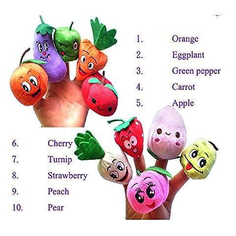 Edealing Fruit & Vegetable Finger Puppets conjunto de juguete suave de la felpa de los niños lindos Aprender Jugar Animal Historia 10pcs Diversión