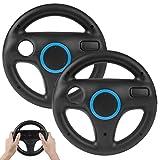 2PCS Mario Kart Wii Lenkrad, TechKen Mario Kart Lenkräder Racing Wheel für Nintendo Wii, Mario Kart und mehr Wii oder Wi U Racing Spiele (schwarz)