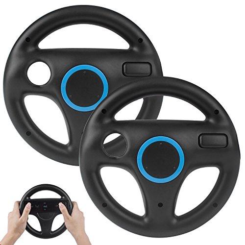 2 Stücke Wii Mario Lenkräder Wheel Controller,TechKen Wii Mario Kart Lenkrad Racing Wheel Wii Mariokart Spiel für Wii U Racing Spiele (Schwarz)