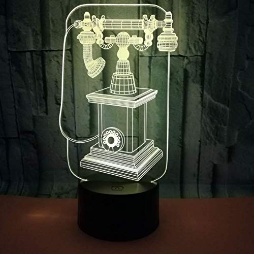 3D Licht Optisch Illusion Lampe Led Retro Telefon 7 Farbwech mit Acryl Flat & ABS Base USB-Ladegerät ändern Berühren Spielzeug Beste für Kinder zum Geschenk fürs Wohnzimmer Nachtlicht -