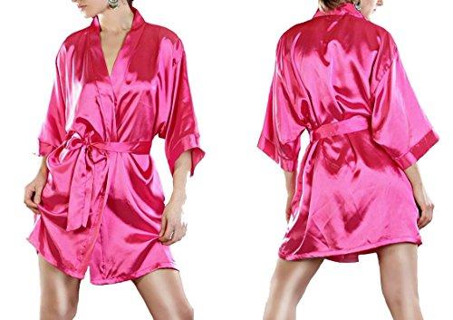 Vestaglia IWEA breve kimono negligee satinato look brillante IW029 Pink