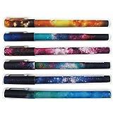 Artone Galaxia Estrellado Reemplazable Colores Variados Bolígrafos De Tinta Gel Colegio Papelería (Conjunto De 6)