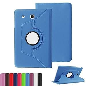 Custodia cover 360 Gradi flip rotabile litchi texture eco pelle AZZURRO con stand per Samsung Galaxy Tab E 9.6 T560 T561 + pellicola protettiva + pennino capacitivo + pannetto pulisci schermo digital bay