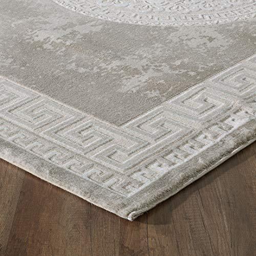 mynes Home Designer Teppich in Beige Creme Modern Orientalisches Muster Medaillon Versace MY3213 (80x300cm)